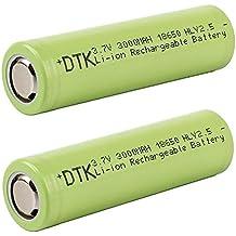 DTK Flat Top 18650 3.7V 3000mAh pilas Batería recargable de ión de litio con estuche de almacenamiento (2 piezas)