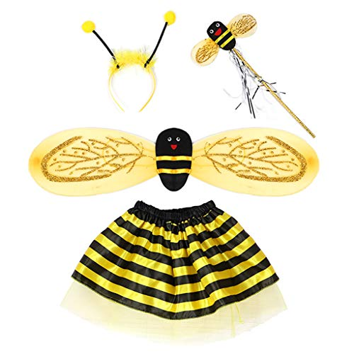 Baby Kostüm Asian - YO-HAPPY Baby Fairy Kostüm Set Marienkäfer Bee Cosplay Kleid Glitter Wing Striped Layered Tutu Rock Geburtstag Party Kleid