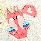 Zooarts d'été enfants bébé fille Parrot Casquette de maillots de bain une pièce Bandeau Maillot de bain Maillot de bain, Red, 80 (1-2Years)