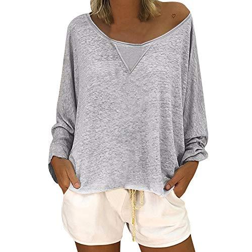 OverDose Damen Herbst Winter täglichen Stil Frauen Mode beiläufige lose Bluse Langarm Scoop Neck Solid Color Shirt Outwear Langarmshirts -
