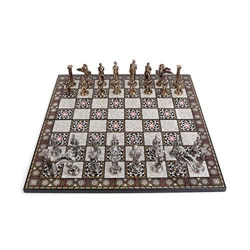 GiftHome - Juego de ajedrez mitológico de Metal para Adultos, Piezas Hechas a Mano y diseño de Mosaico de Madera con Tablero de ajedrez, tamaño King 3.35inc