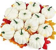 DomeStar Artificial Pumpkins for Decoration, 12PCS Mini Fake Pumpkins with 30PCS Lifelike Maple Leaves Faux Pu