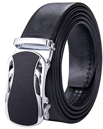 DiBanGu - Cinturón de piel auténtica con trinquete para hombre, hebilla automática, correas de cinturón de color negro, cinturón de lujo Negro Silver Buckle Dk-0003 XXX-Large