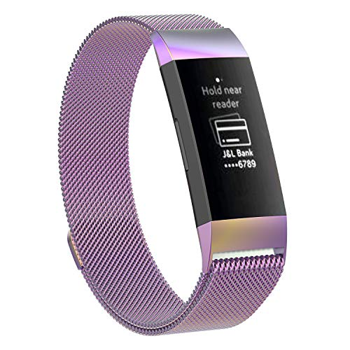 MyFitBands Milanaise-Armband für Fitbit Charge 3 Ersatz-Armband mit Metallverschluss, Hellviolett, L