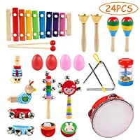 Toddler Musical Instruments Set, Ballery 24 Pcs Wooden Percussion Instrument Toys Rhythm Band Set Including Xylophone, Drum - Musical Toys Set for Toddler Preschool Children Kids