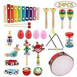 Instruments de Musique pour Enfants, Ballery 24 PCS Instruments de Musique en Bois Percussion pour Bébé avec Xylophone, Tambourin, Triangle et Autre Instrument Jouets dans