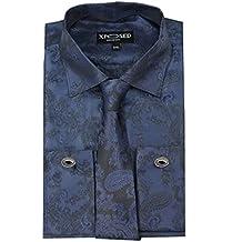 Xposed Mens Paisley Print Retro Formal Shirt Tie Hanky Cufflinks Wedding Dinner Party