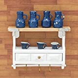 Odoria 1/12 Miniatur Küchen Hängeschrank Wandschrank mit Flaschen Tassen 3 Schubladen und Handtuchhaken Für Puppenhaus Möbel Zubehör