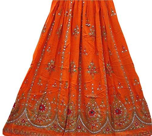 Señoras Indian Boho Hippie Gypsy falda larga de lentejuelas | Faldas de Bellydance | Mundo del bailarín (naranja)