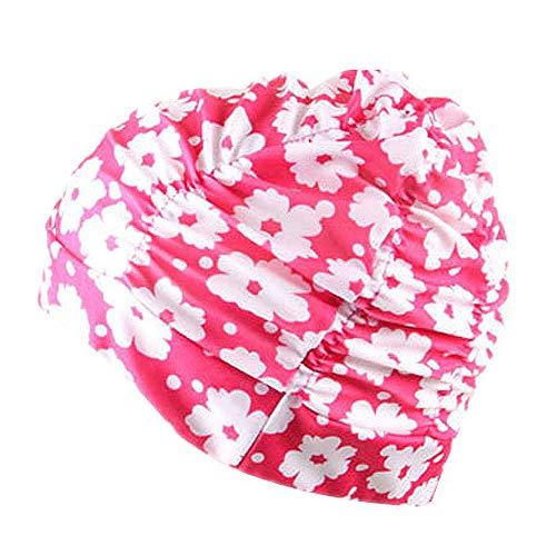 Schwimmhaube Badekappe für charmante Damen Schwimmen Hut Mädchen Lange Haare wasserdichte Badehaube Stretch drapieren Multicolor Blume gedruckt(I,Free)