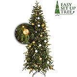 Künstlicher Weihnachtsbaum Tannebaum mit Dekoration Easy Set Up Tree Led Avik Decorated Bronze 180 cm, 240 Lämpchen beleuchtet und Weihnachtsschmuck