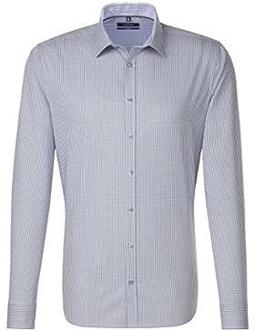 SEIDENSTICKER Herren Hemd Tailored 1/1-Arm, extra lang Bügelfrei Karo City-Hemd Kent-Kragen Kombimanschette weitenverstellbar