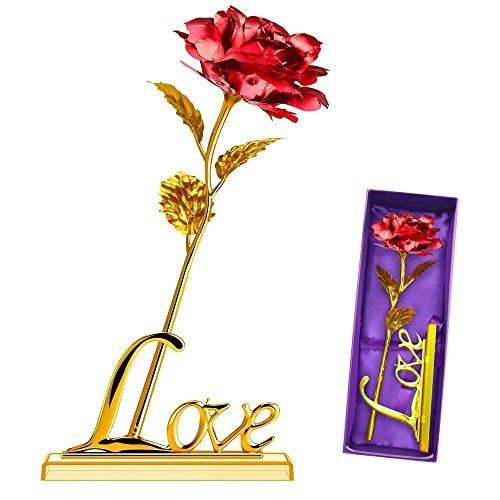 YIHAO 24K Rosa Artificiales Flores 24K Rosa Atrificial Flowers Chapado En Oro Rosa Flor Con Caja De Regalo Mejor Regalo Para El DíA De San ValentíN DíA De La Madre Navidad CumpleañOs (Rojo)