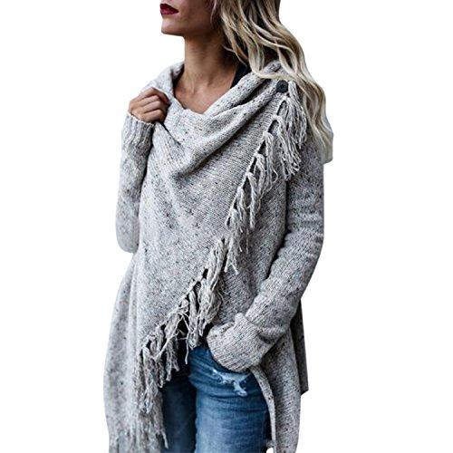 Petalum Damen Jacke Winter Herbst Warm Elegant Lady Langarm Fransen Quasten Lässig Asymmetrisch...