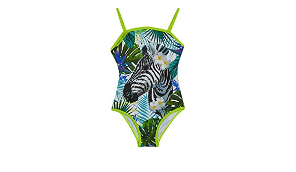 Bluezoo Kids Girls/' Multi-Coloured Sequinned Embellished Zebra Print Swimsuit