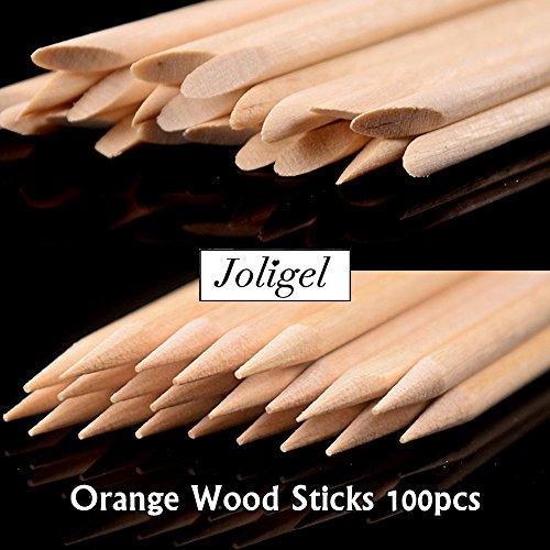 Joligel 100 Palitos Naranjo Doble Punta Uñas, Palitos