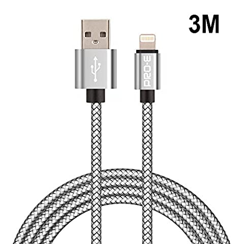 Câble iPhone, Pro-E 3m Nylon tressé Câble Lightning/Câble pour iPhone / Sync Data USB Câble pour iPhone 6/ 6s/5/5s/5c/SE, iPad 4, iPad mini, iPad Air (Argent)