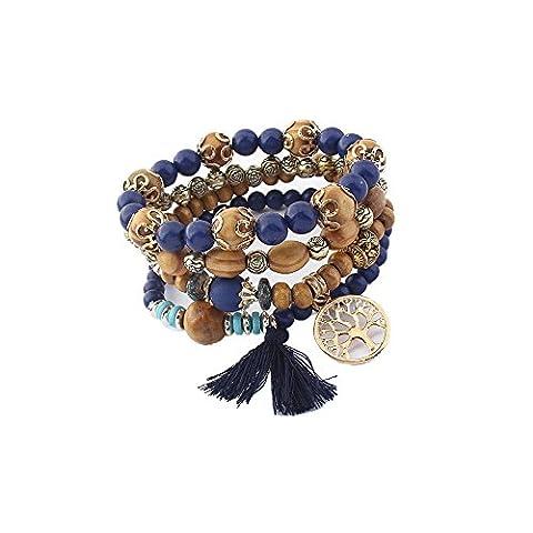 Lureme Vintage Wood Beads Multi Strand Stretch Bracelet Set Life Tree Tassel Charms-Navy (bl003185-5)