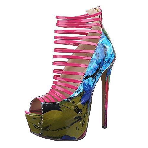 Damen Schuhe, QJ15107, PUMPS HIGH HEELS PLATEAU SANDALETTEN Pink