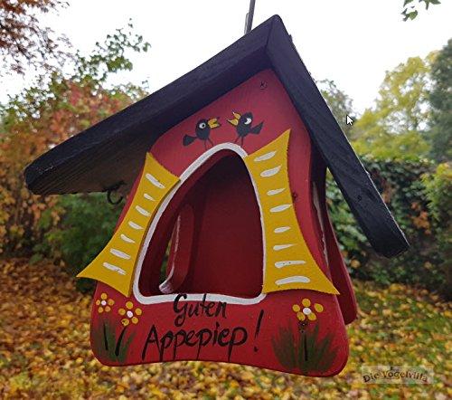 """Futterstation """"Guten Appepiep"""", Unikat aus der Vogelvillawerkstatt, HANDBEMALT, aus zertifiziertem Holz aus süddeutschen Wäldern"""