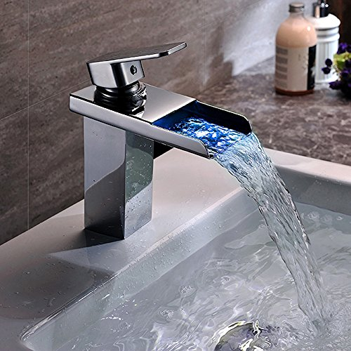 Homelody – Wasserfall-Waschtischarmatur, Einhebel, LED-Beleuchtung, Temperatur-Farbwechsel, Chrom - 2