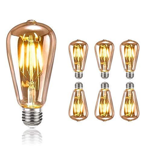 Edison Vintage Glühbirne, tronisky Edison LED Lampe Warmweiß E27 Retro Glühbirne Vintage Antike Glühbirne Ideal für Nostalgie und Retro Beleuchtung im Haus Café Bar usw - 6 Stück - Antik Weiß Schlafzimmer-set