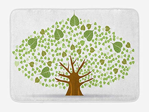 JIEKEIO Tree Bath Mat, Sacred Fig Bodhi Tree Illustration Full of Leaves Spiritual Enlightenment, Plush Bathroom Decor Mat with Non Slip Backing, 23.6 W X 15.7 W Inches, Green Brown and White -