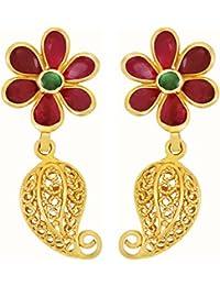 Joyalukkas 22KT Yellow Gold, Ruby and Emerald Drop Earrings for Girls