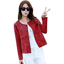 Spritech - Chaqueta para mujer (cuero, corta, estrecha, casual, para primavera chaqueta), rojo