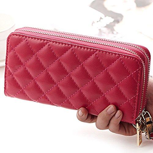 Jsix Portafoglio Borse per Donna in pelle compatto apertura zip Pink