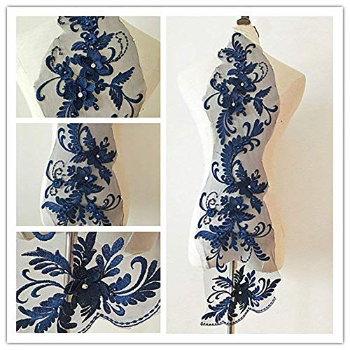 Blau Gold Trim (bridallaceuk 3D-Spitzenapplikation, Blumen-Aufnäher, ideal zum Basteln, Nähen, Kostüme, Abenden, Braut-Tops, 20 cm x 72 cm, A1 Navy)