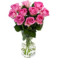 Fabulously Floral Short Stem Pink Roses Bouquet, 10 Stems