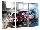 Poster Moderno Fotografico Coche Carreras Rally Nissan Mismo, Garaje con Humo, 97 x 62 cm, ref. PST26975