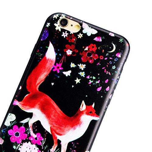 TPU Custodia Morbido per iPhone 6 Plus / iPhone 6S Plus (5.5 pollici), HB-Int 3 in 1 Nero Disegno Elegante borsa Custodia in Silicone Gel Accessori di Protettiva Cassa Caso Anti Scivolo Bumper Coperti Volpe