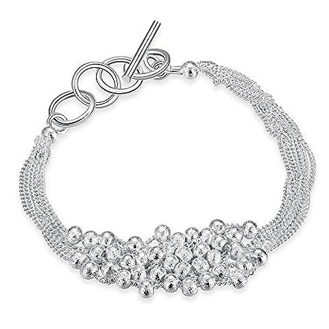 Bodya Plaqué argent empilage Twist Chaîne Link Brecelet avec petite boule de perles Charm autour de bouton à bascule - frosted beads