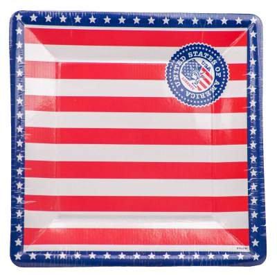 Folat USA Party Teller, quadratisch, 25cm (8Stück) -