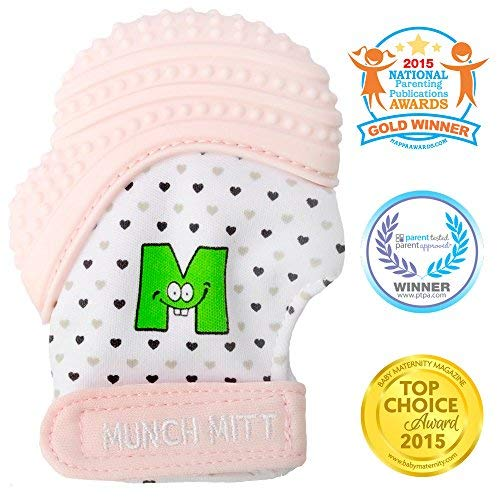 Mouthie Mitten - Moufle mitaine de dentition en silicone - Rose pêche