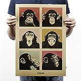 Csheng Poster Film, Poster Affiche Classique Papier Kraft Ancien Style Maison De Bricolage Rétro Art Nostalgique Mural Antique Bar Vintage Gorilla Mignon Affiche Drôle -51,5X36cm 01