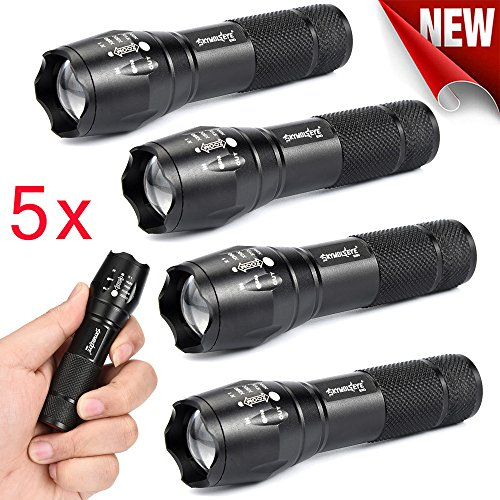 Taschenlampe ,COLORFUL_ 5×3500Lumens Zoomable Tactical Military LED AA / 14500 Taschenlampe Lampe Licht (5X Mini Q5) -