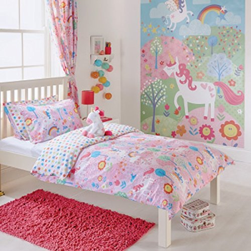 Unicorn - Cortinas con Plisado Tipo lápiz y Lazos a Juego para Chica - 66 x 72 cm - Totalmente Revestimiento de Flores - Rosas