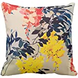 YaYa cafe Printed Floral Flower Throw Cotton Cushions Pillow Covers for Home Decor Sofa Chair Bedroom Living Room (Yellow, 20X20-inch) - Set of 1