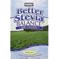 Stevia Balance (sucre naturel) sachet - 100 sachets - Now foods