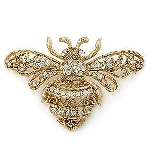 Plaqué or, cristal Swarovski, filigrane 'Bumble Broche abeille 70 mm