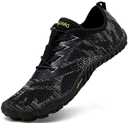 SAGUARO Barfußschuhe Herren Trail Laufschuhe Damen Indoor Outdoor Sport Fitnessschuhe Leicht Zehen Wander Trekking Schuhe für Frauen Männer Schwarz Gr.39