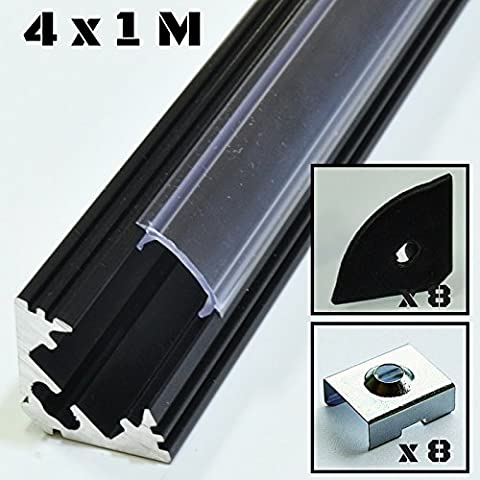 4er SET Alu Profil P3 1m Aluminium: schwarz Abdeckung: klar Inkl. Endkappen und Montageklammern für