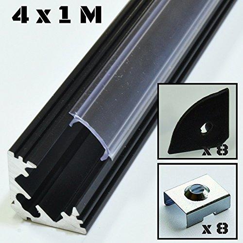 Lote de 4 x 1 metro perfil de aluminio P3 negro para tiras LED con cubierta transparente, tapas y grapas de montaje incluidas