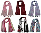 FusFus Women's Printed Trendy Stoles, Free Size(Multicolour, F0167) - Pack of 6