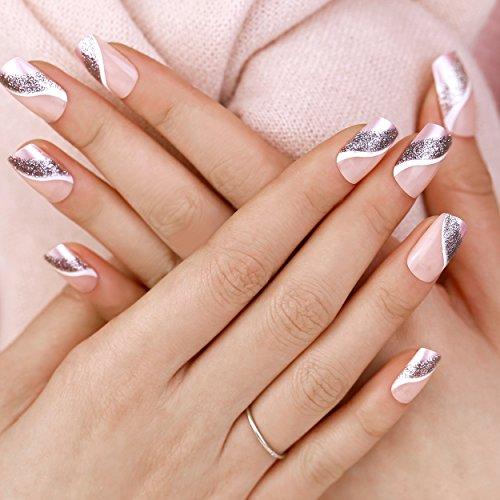 ArtPlus Künstliche Nägel 24pcs Silver Pink Elegant Touch False Nails with Glue Full Cover Long Length Fake Nails Art