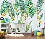 (140X70CM), Alte Zeitung 3D tapete - Nordische Art handgemalte Bananenblatt tropische Blätter Blume - Wallpaper Poster Wanddekor von Bestwind