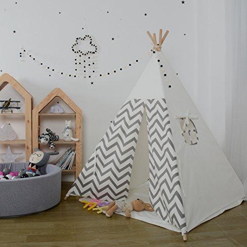 ... 100% Natürlich Baumwolle Segeltuch Indianer Spielhaus Zelt, Innen  Draussen Kinderzimmer Spielzeug Für Babys Mädchen Jungen, Grau  Wellenförmige Streifen